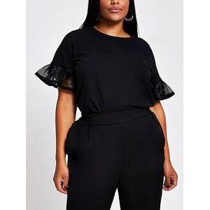 RI Plus Mesh Insert Flute Sleeve T-shirt - Black, Black, Size 24, Women