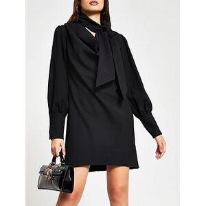 River Island Cowl Tie Neck Shift Dress - Black, Black, Size 6, Women