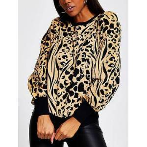 River Island Leopard Print Puff Sleeve Sweater - Brown, Brown, Size S, Women