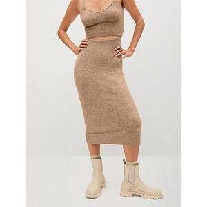 Mango Knitted Midi Skirt - Brown, Brown, Size L, Women