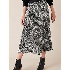 Monsoon Animal Print Pleated Skirt - Black, Black, Size L, Women