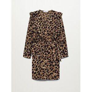 Mango Ruffle Wrap Dress - Leopard Print, Green, Size L, Women