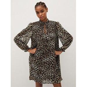 Mango Leopard Flowing Skater Dress - Black, Black, Size L, Women