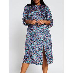 RI Plus Floral Cowl Neck Tie Sleeve Midi Dress - Blue, Blue, Size 28, Women