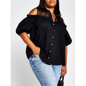 RI Plus Cold Shoulder Shirt - Black, Black, Size 24, Women