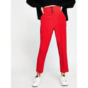 River Island High Waist Cigarette Trouser - Red, Red, Size 6, Women