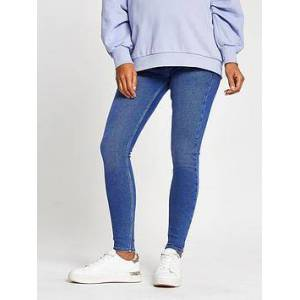 River Island Maternity Mid Rise Amelie Overbump Skinny Jean - Buzzy Blue, Blue, Size 6, Inside Leg Short, Women