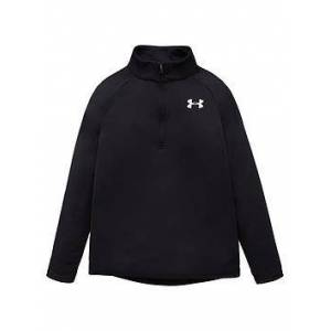 UNDER ARMOUR Tech 2.0 1/2 Zip, Black/White, Size 11-12 Years