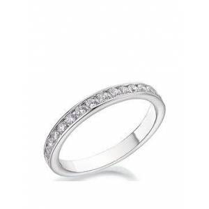 Love DIAMOND 9ct White Gold 40pt Diamond Channel Set 2.5mm Wedding Band, One Colour, Size P, Women