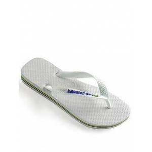 Havaianas Brasil Logo Flip Flop, White, Size 11-12, Men