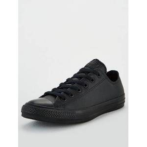 Converse Chuck Taylor All Star Leather Ox - Black , Black/Black, Size 11, Men