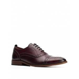 Base London Cast Lace Up Brogue - Dark Red, Dark Red, Size 8, Men
