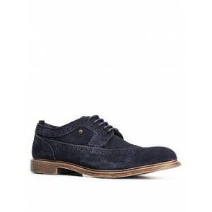 Base London Onyx Suede Brogue - Navy, Navy, Size 12, Men