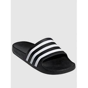 adidas Adilette Aqua - Black, Black/White, Size 7, Women