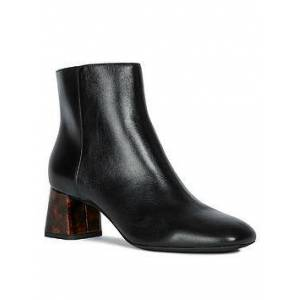 Geox D Seyla C Leather Heeled Ankle Boots - Black, Black/Brown, Size 7.5 (41), Women