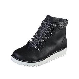 Skechers BOBS Mountain Kiss Lace Up Walking Ankle Boot - Black, Black, Size 6, Women