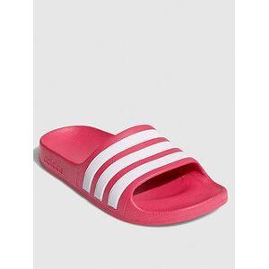 adidas Adilette Aqua Sliders - White/Pink, White/Pink, Size 11