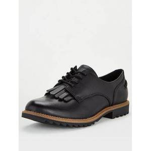 Clarks Griffin Mabel Leather Brogues - Black, Black, Size 5, Women