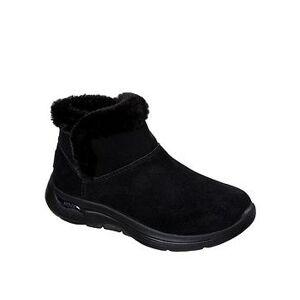 Skechers GOwalk Arch Fit Faux Fur Ankle Boot - Black, Black/Black, Size 4, Women