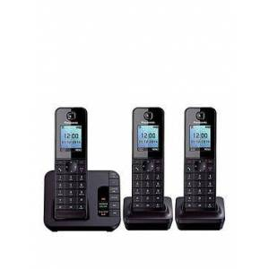 Panasonic Kx-Tgh223Eb Cordless Telephone With Answering Machine And Nuisance Call Block - Trio