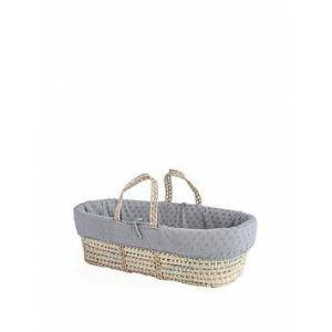 Clair De Lune Terry Dot Palm Moses Basket with Padded Liner, Grey