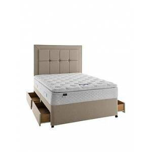 Silentnight Miracoil 3 Tuscany Geltex Pillowtop Divan Bed With Storage Options - Medium/Firm