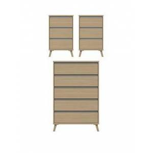 Very Miller 3 Piece Ready Assembled Package - 5 Drawer Chest And 2 Bedside Chests