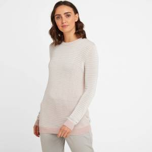 TOG24 Ginny Womens Stripe Crew Jumper - Rose Pink - 18