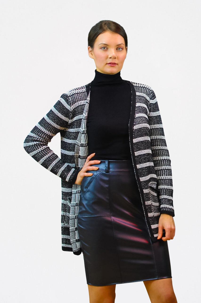 Tremees Striped Grey Cardigan