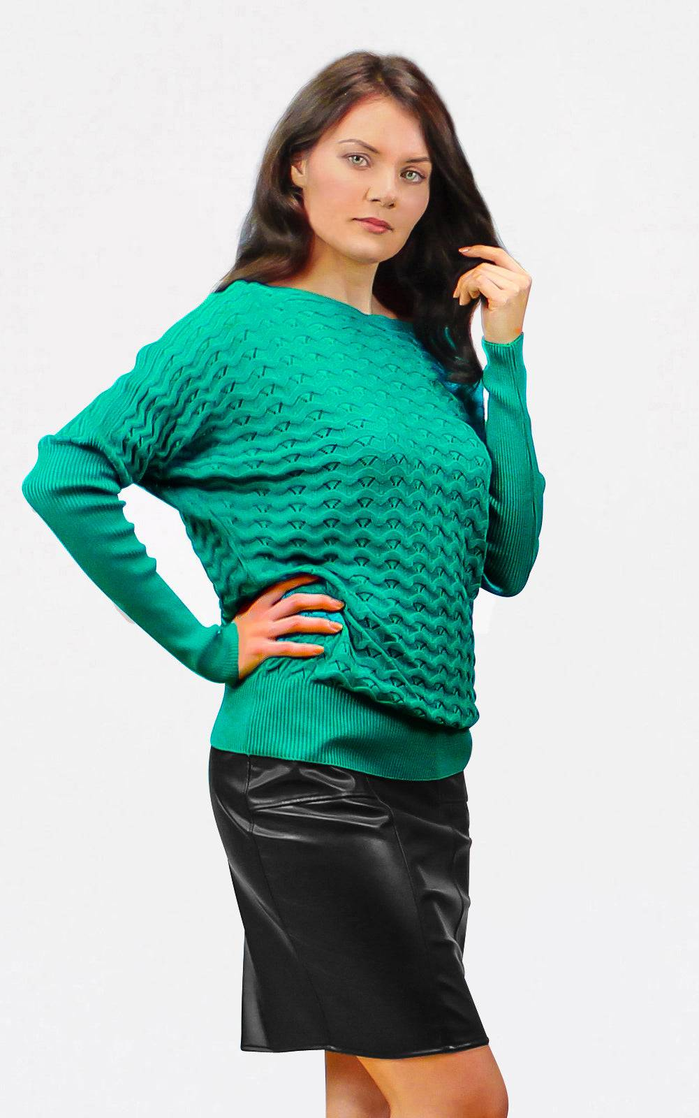 Tremees Openwork Knitted Jumper in Green
