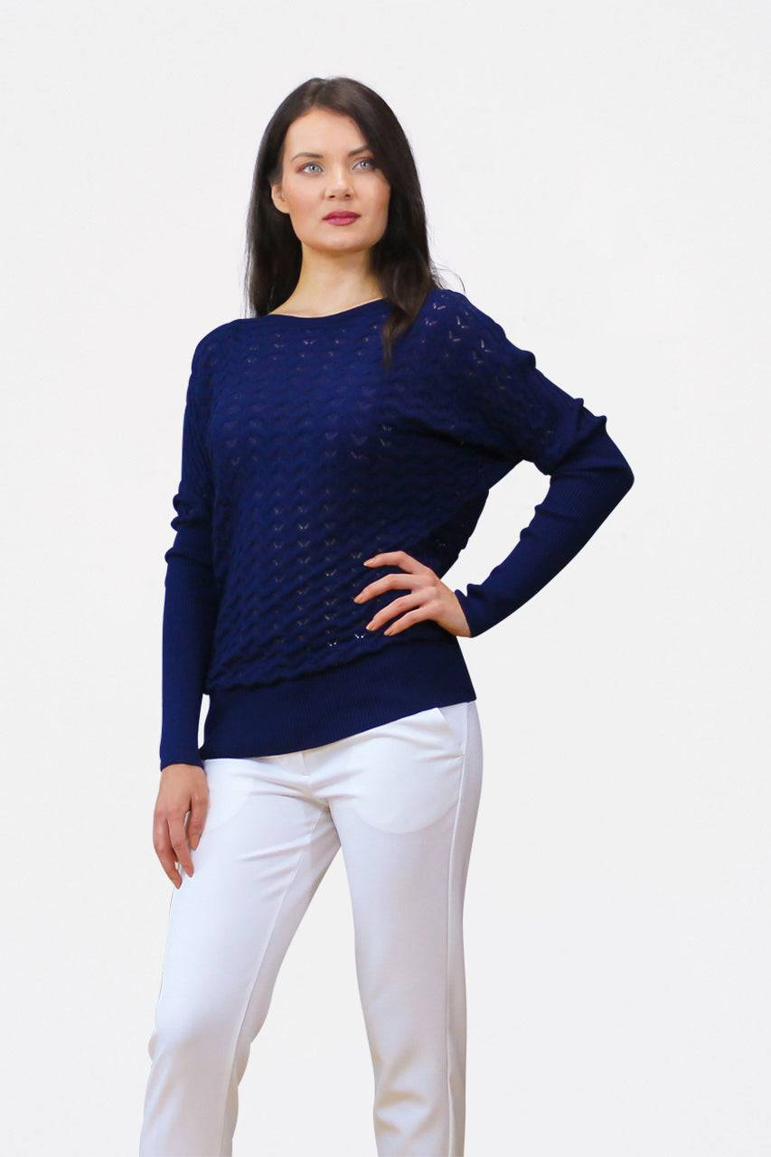 Tremees Navy Blue Openwork Knitted Jumper