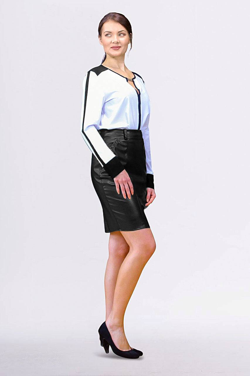 Tremees Black Faux Leather Pencil Skirt