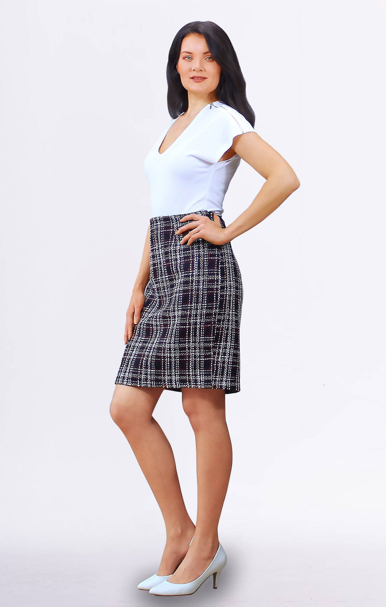 Tremees Checked Wool Pencil Skirt