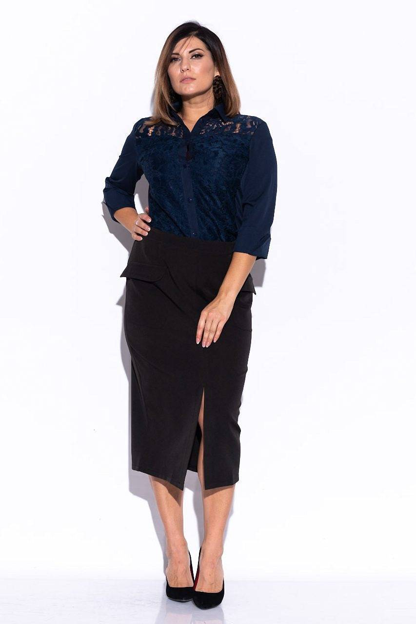 Tremees Black Midi Skirt with a Front Slit