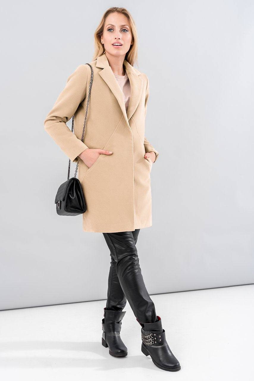Tremees Beige Single Breasted Pea coat