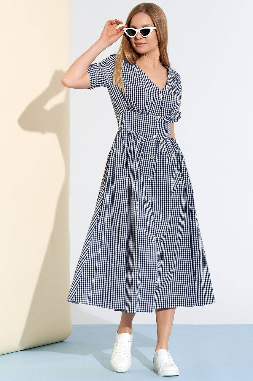 Tremees Gingham Midi Fit and Flare Dress