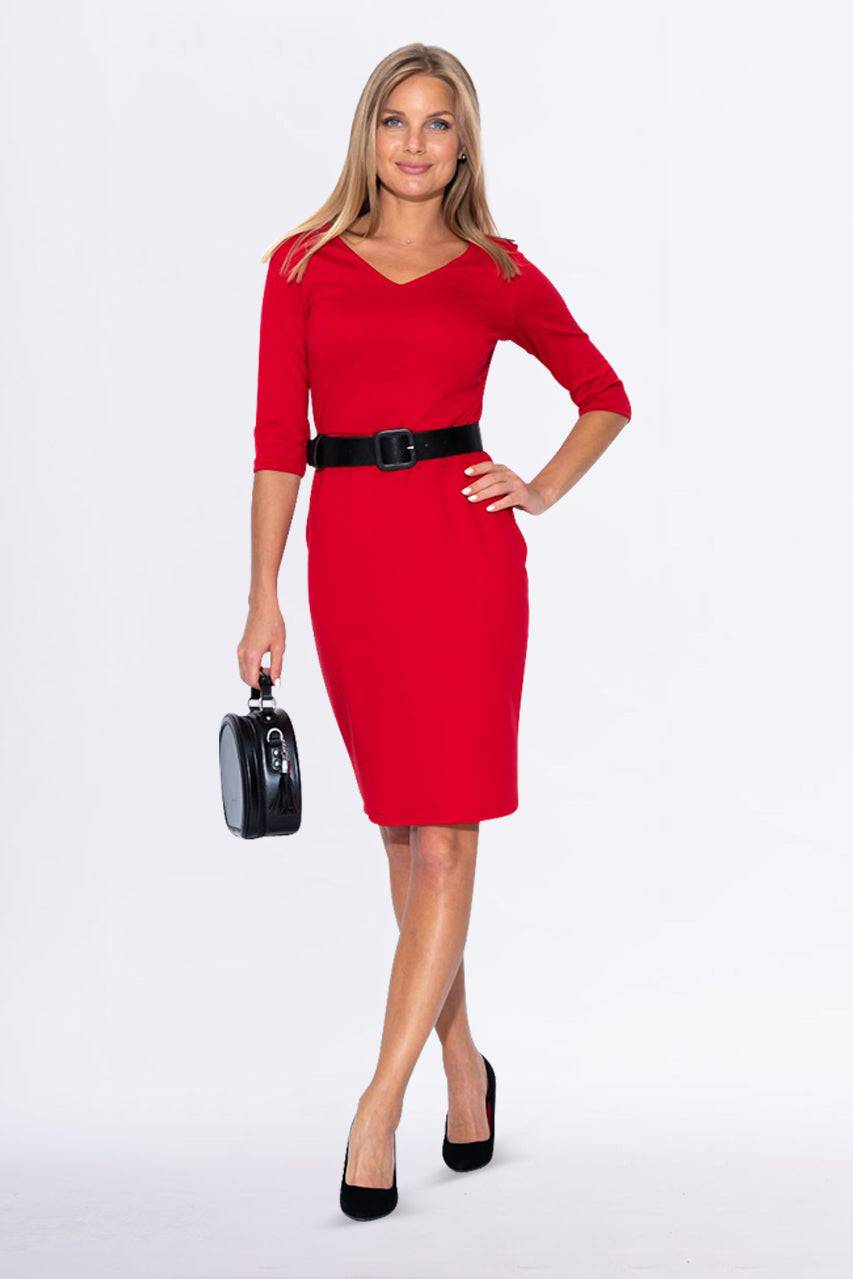 Tremees Red Jersey Dress with a Belt