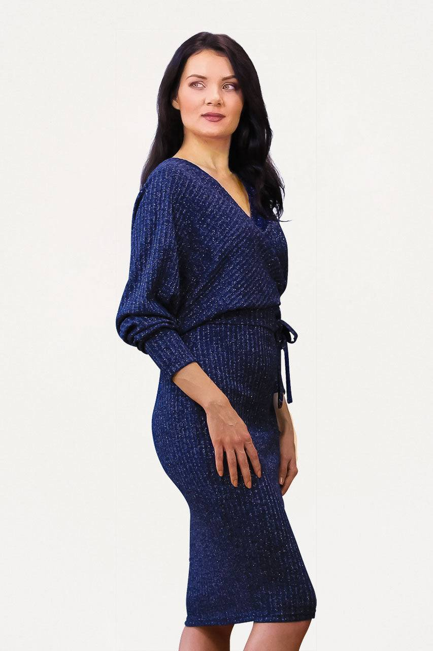 Tremees Navy Blue Midi Wrap Dress with Lurex
