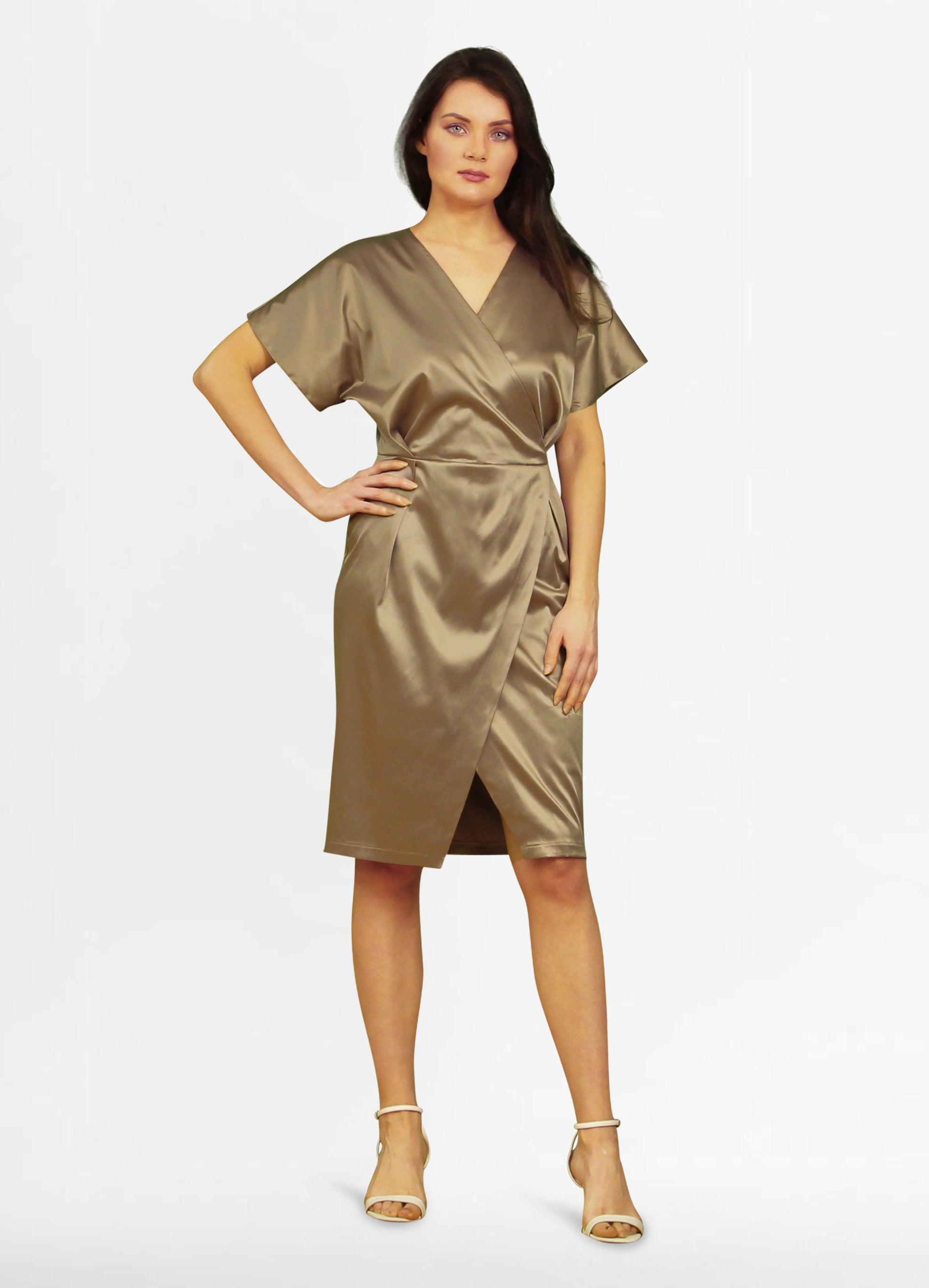Tremees Satin Wrap Dress