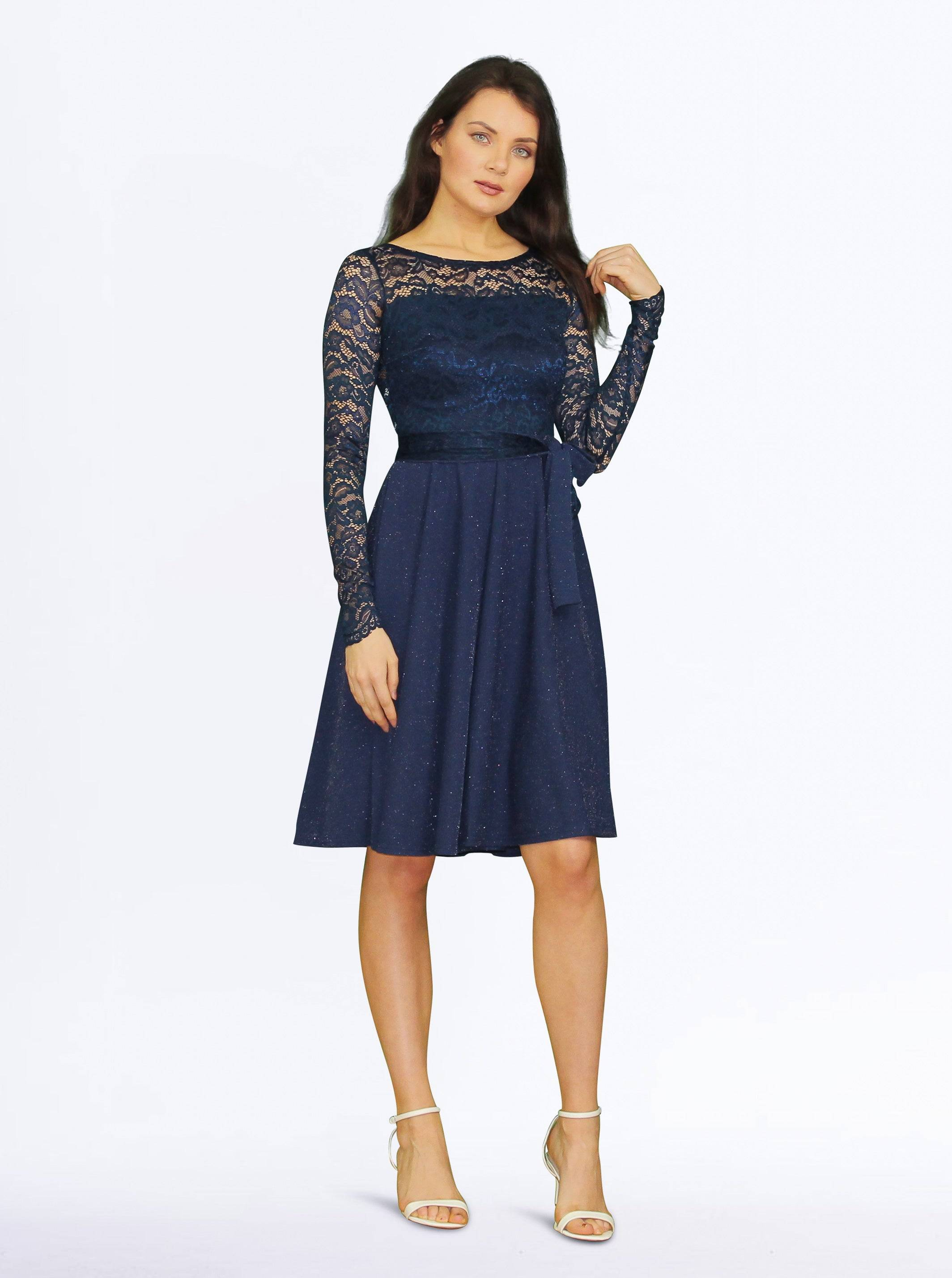 Tremees Navy Lace Fit and Flare Dress with Lurex