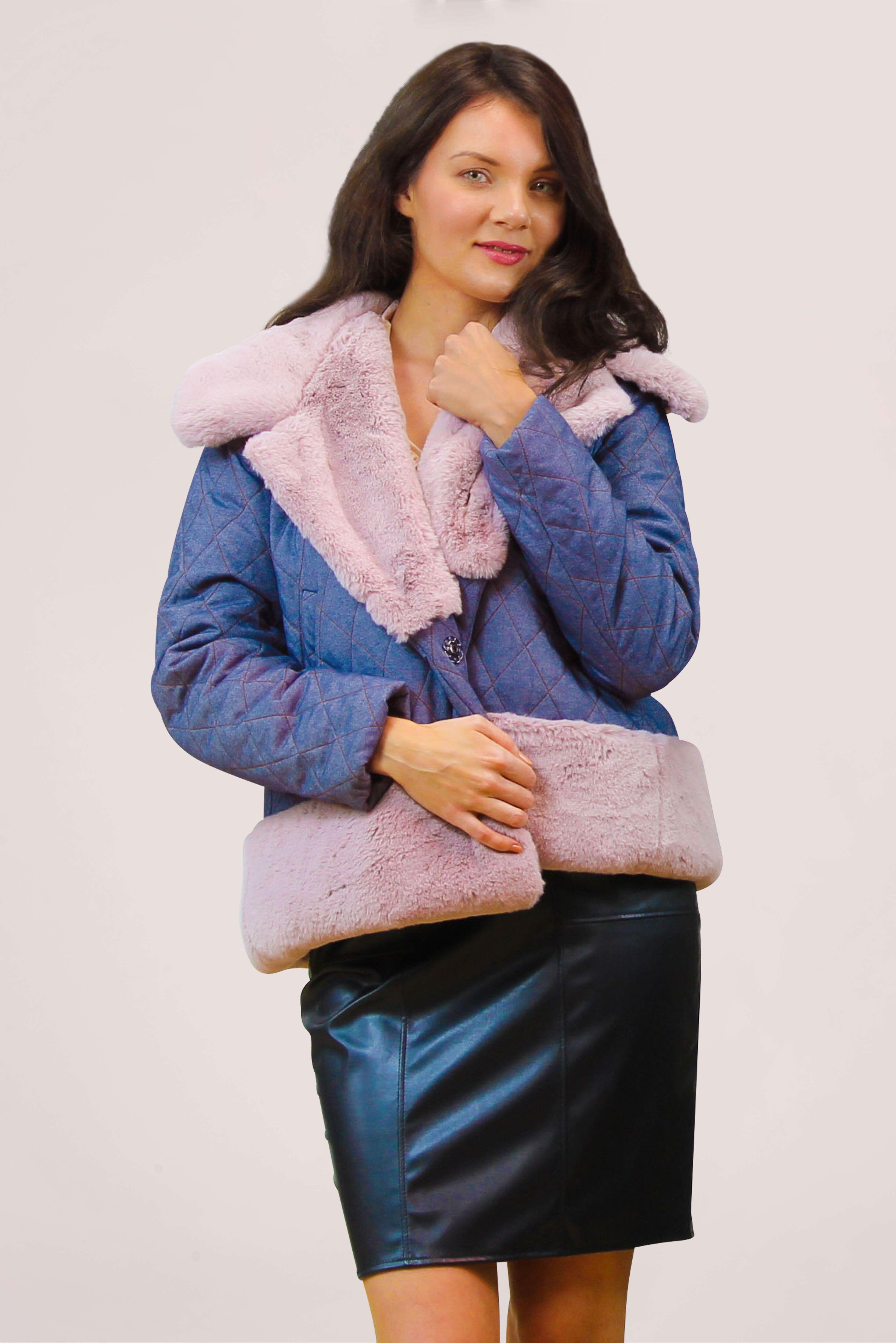 Tremees Denim Look Faux Fur Trimmed Jacket
