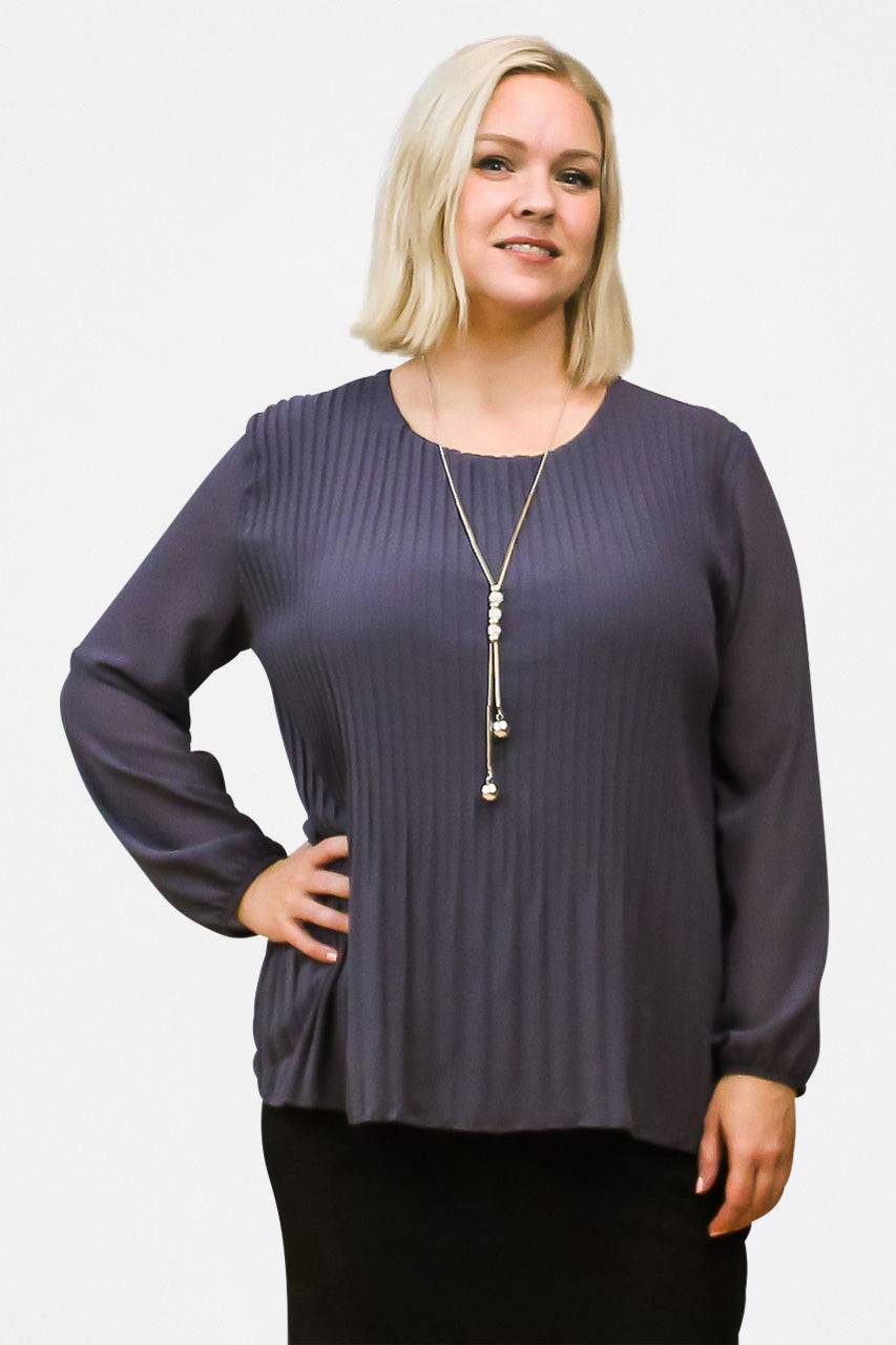 Tremees Grey Pleated Blouse