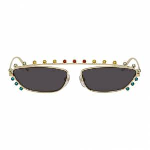 Marc Jacobs Gold The Strass Cat-Eye Sunglasses  - 0CUA Grey - Size: UNI