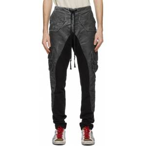 Greg Lauren Black Satin Washed 50/50 Cargo Pants  - BLACK - Size: 36