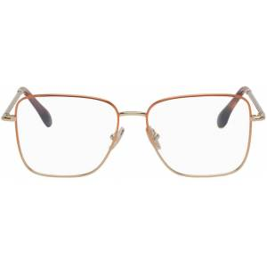 Victoria Beckham Copper & Gold Square Glasses  - Brown - Size: UNI