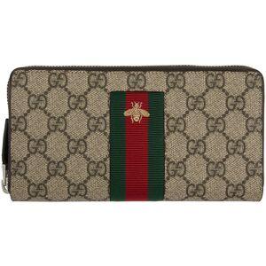 Gucci Beige Web GG Supreme Zip-Around Wallet  - 8461 BEIGE - Size: UNI