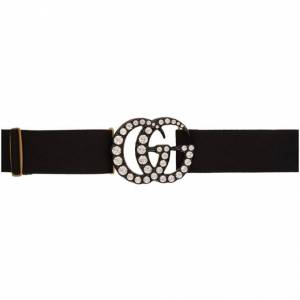 Gucci Black Crystal GG Belt  - 1077 Black - Size: 75