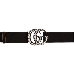 Gucci Black Crystal GG Belt  - 1077 Black - Size: 75