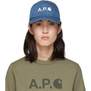 A.P.C. Indigo Denim Carhartt WIP Edition Logo Cap  - IAL Indigo - Size: 54