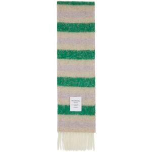 Acne Studios Green and Beige Alpaca Striped Scarf  - GREEN/BEIGE - Size: UNI